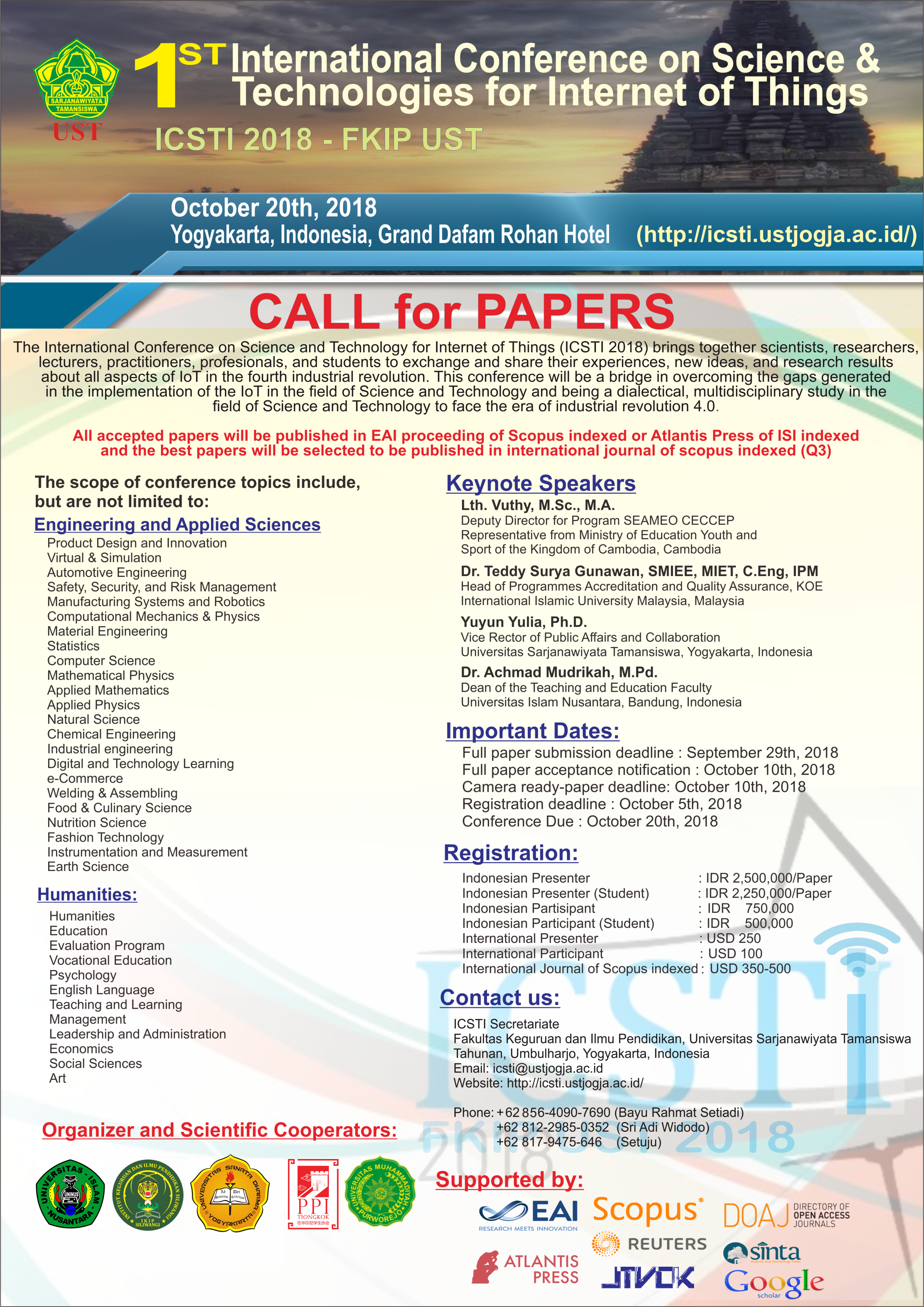 1st International Conference on Science & Technologies for